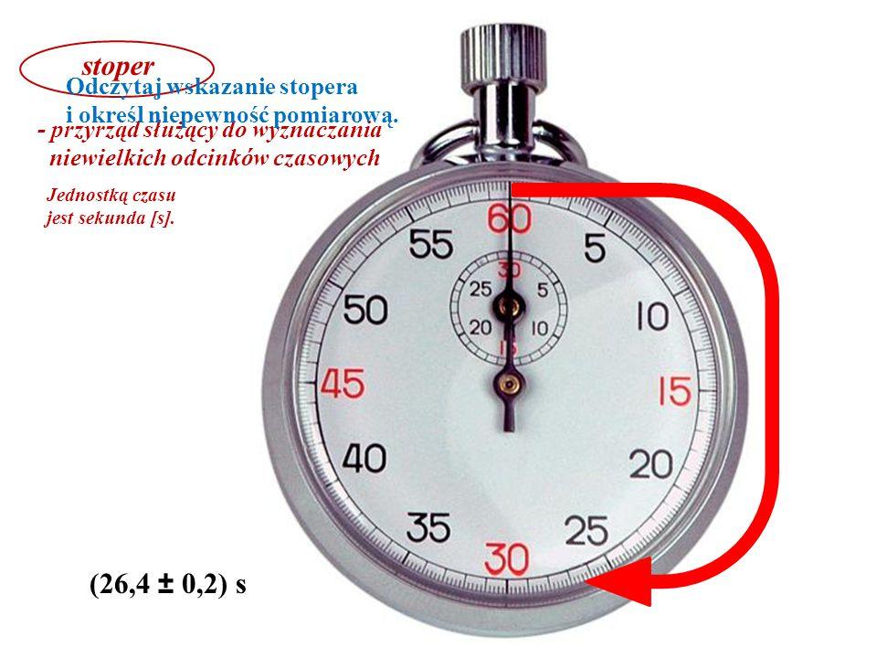 stoper - przyrząd służący do wyznaczania. niewielkich odcinków czasowych. Jednostką czasu jest sekunda [s].